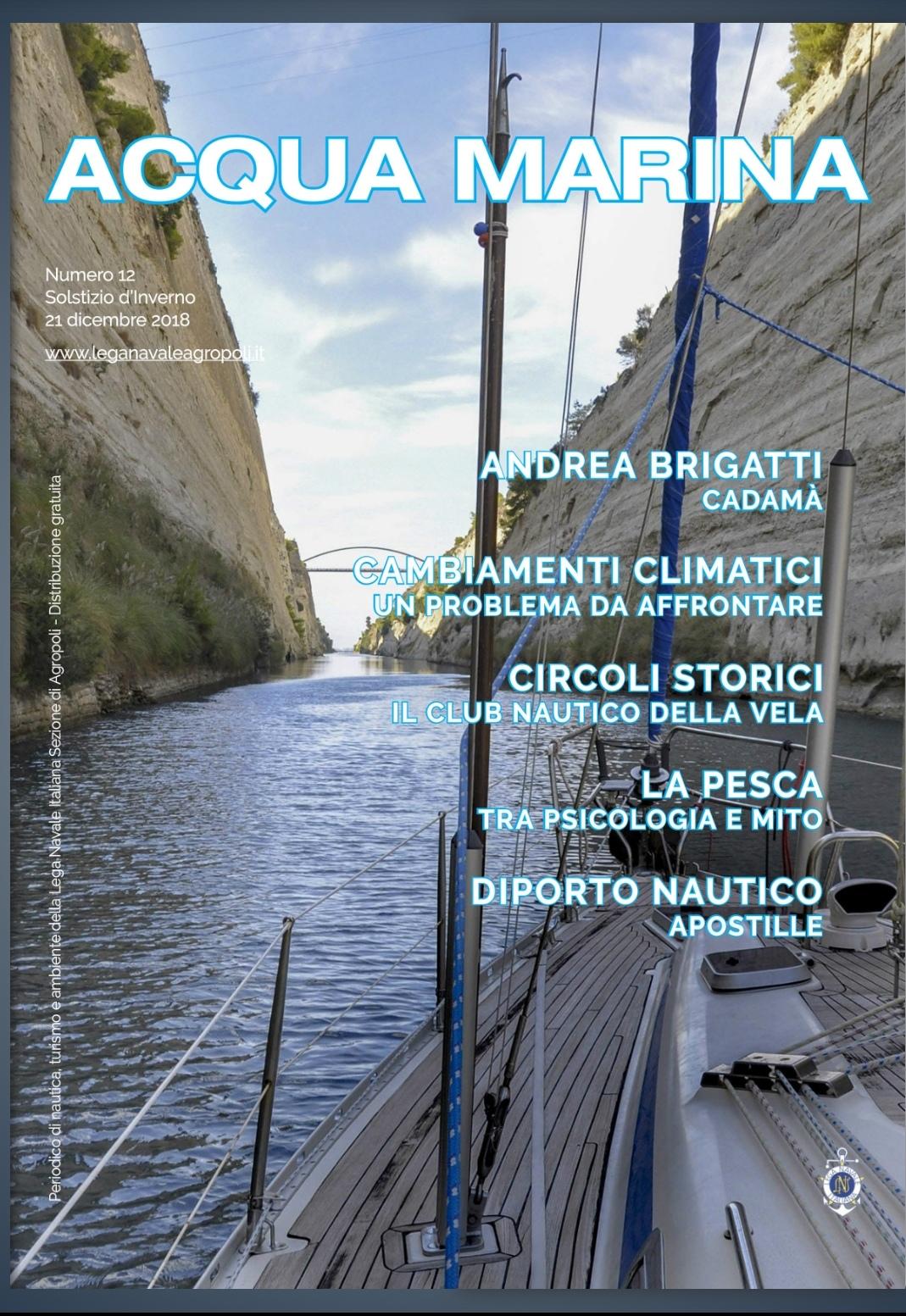 Copertina rivista Acqua Marina con articolo su Cadamà